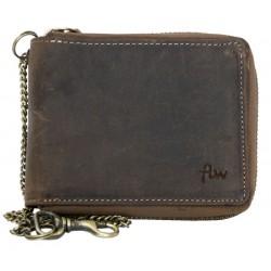 Kožená peněženka dokola na kovový zip s řetězem