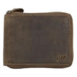 Kožená peněženka z přírodní kůže celá na kovový zip