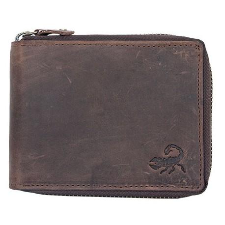 Kožená peněženka z přírodní kůže se škorpionem celá na kovový zip