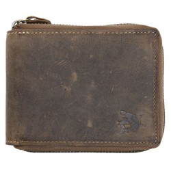 Kožená peněženka z přírodní kůže se žralokem celá na kovový zip