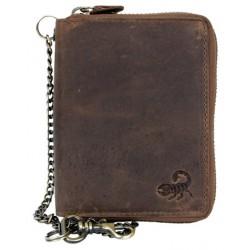 Celá kožená peněženka se škorpionem dokola na kovový zip s 30 cm dlouhým kovovým řetězem a karabinkou