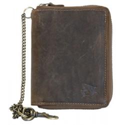 Kožená peněženka se žralokem dokola na kovový zip