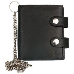 Prostorná kožená motorkářská peněženka s řetězem