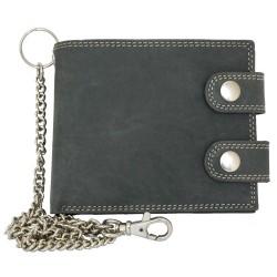 Šedá kožená peněženka s dvěma sponami a řetězem
