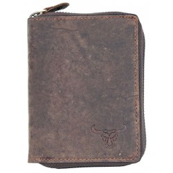 Kožená peněženka s býkem dokola na kovový zip