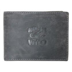 Šedá kožená peněženka Born to be wild se škorpionem