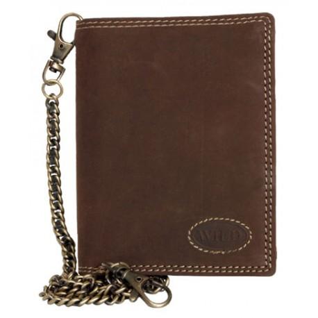 Kožená tmavě hnědá peněženka Wild z velmi pevné kůže