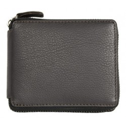 Tmavě hnědá kožená peněženka kompaktních rozměrů dokola na zip