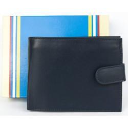 Šedomodrá peněženka z příjemné kůže bez značek a nápisů