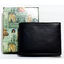 Kožená peněženka černá luxusní pánská z kvalitní pevné lesklé kůže