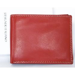 Červená, leskle lakovaná kožená peněženka bez značek a nápisů
