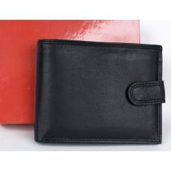 Černá kožená peněženka z měkké kůže s upínkou dodávaná v krabičce