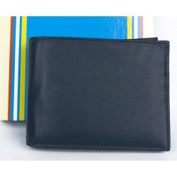 Tmavě modrá kožená peněženka bez značek a nápisů