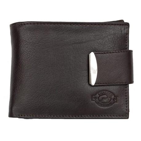 Tmavě hnědá kožená peněženka Gazello z příjemné měkké kůže s okovanou upínkou