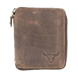 Pánská malá kapesní peněženka s býčí hlavou na kovový zip
