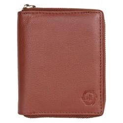 Peněženka HL ze světle hnědé kůže dokola na kovový zip