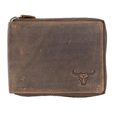 Kožená peněženka z přírodní kůže býčí lebkou celá na kovový zip