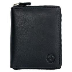 Peněženka HL z kvalitní černé kůže dokola na kovový zip