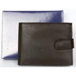 Velmi tmavě hnědá, skoro černá kožená peněženka z měkké kůže