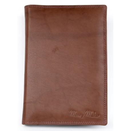 Hnědé kožené pouzdro na cestovní pas, platební karty a jiné dokumenty
