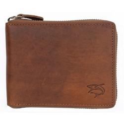 Celá kožená peněženka se žralokem celá na kovový zip