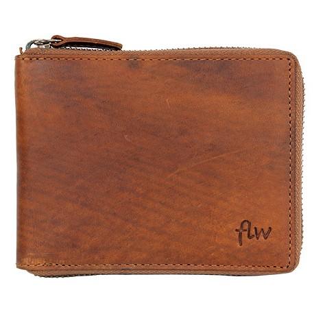 Celá kožená peněženka dokola na kovový zip