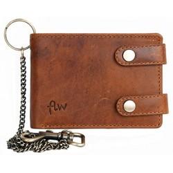 Pánská celá kožená malá kapesní peněženka s 50 cm kovovým řetězem