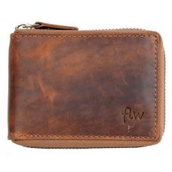 Pánská celá kožená malá kapesní peněženka s kovovým zipem dokola