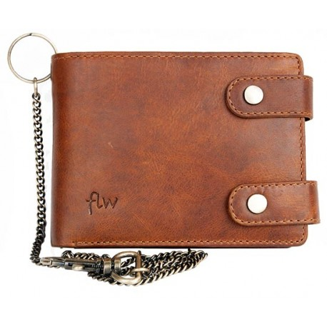 Celá kožená peněženka s 50 cm dlouhým řetězem a karabinou