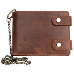 Celá kožená peněženka s 50 cm dlouhým řetězem a karabinou se škorpionem