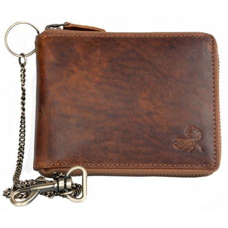 Celá kožená peněženka se škorpionem dokola na kovový zip s řetězem