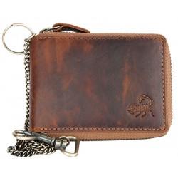 Pánská celá kožená malá kapesní peněženka se škorpionem, s kovovým zipem dokola a řetězem