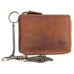 Pánská celá kožená malá kapesní peněženka s kovovým zipem dokola a řetězem
