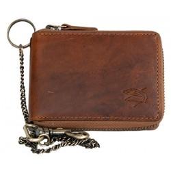 Pánská celá kožená malá kapesní peněženka se žralokem, s kovovým zipem dokola a řetězem