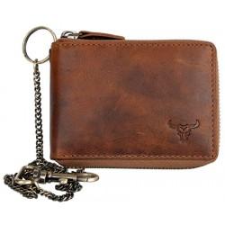 Pánská celá kožená malá kapesní peněženka s bůvolí hlavou, s kovovým zipem dokola a řetězem
