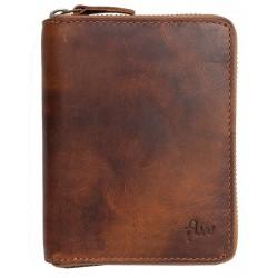 Pánská celokožená peněženka dokola na kovový zip