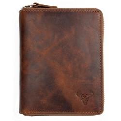 Pánská celokožená peněženka dokola na kovový zip s býčí hlavou