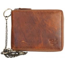 Celá kožená peněženka se žralokem dokola na kovový zip s řetězem Poslední kus Výprodej
