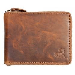 Celá kožená peněženka se škorpionem celá na kovový zip