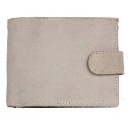 Kožená peněženka z drsné světle béžové, skoro bílé kůže