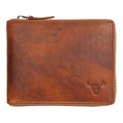 Celá kožená peněženka s býkem celá na kovový zip