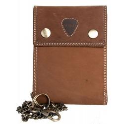 Celokožená světle hnědá peněženka Wild s 45 cm dlouhým řetězem a karabinkou