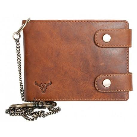 Celá kožená peněženka s 50 cm dlouhým řetězem a karabinou s býčí hlavou