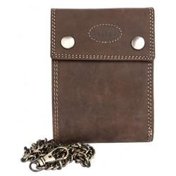 Celokožená tmavě hnědá peněženka Wild s 45 cm dlouhým řetězem a karabinkou