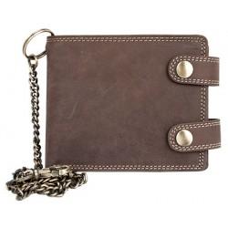 Prostorná kožená peněženka s 50 cm dlouhým řetězem a karabinou