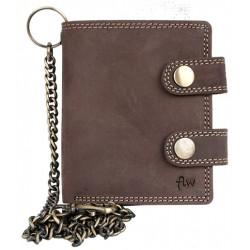 Pánská tmavě hnědá malá kapesní peněženka s řetězem