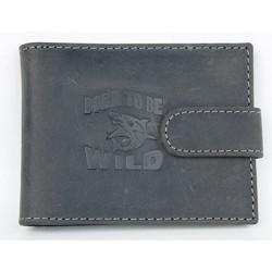 Šedé kožené pouzdo na karty Born to be wild se žralokem