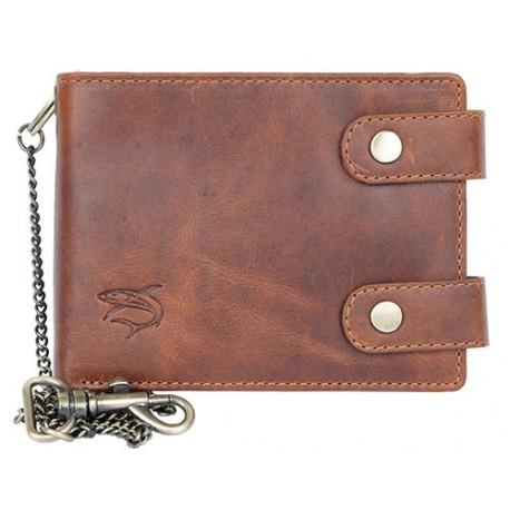 Celá kožená peněženka s 50 cm dlouhým řetězem a karabinou se žralokem