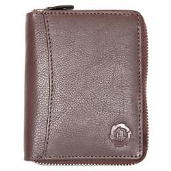Peněženka HL z hnědé kůže dokola na kovový zip