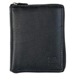 Peněženka Bull Leder z kvalitní černé kůže dokola na kovový zip bez kapsičky na mince
